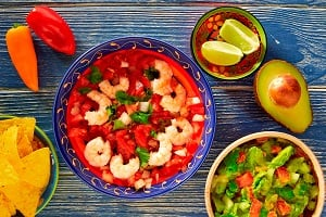 Ceviche de Camaron shrimp with nachos and guacamole mexican food
